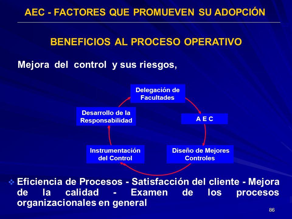 86 AEC - FACTORES QUE PROMUEVEN SU ADOPCIÓN 2/2 Mejora del control y sus riesgos, BENEFICIOS AL PROCESO OPERATIVO Eficiencia de Procesos - Satisfacció