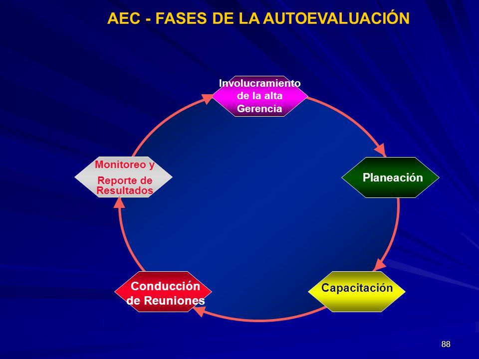 88 AEC - FASES DE LA AUTOEVALUACIÓN Monitoreo y Reporte de Resultados Conducción de Reuniones Capacitación Planeación Involucramiento de la alta Geren