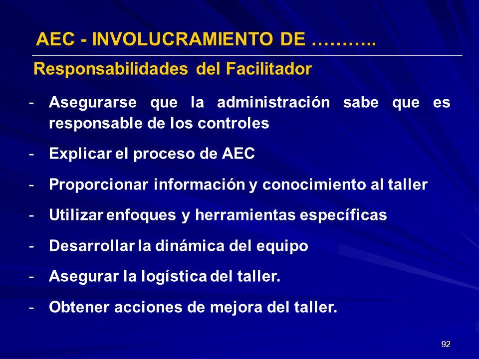 92 AEC - INVOLUCRAMIENTO DE ……….. -Asegurarse que la administración sabe que es responsable de los controles -Explicar el proceso de AEC -Proporcionar