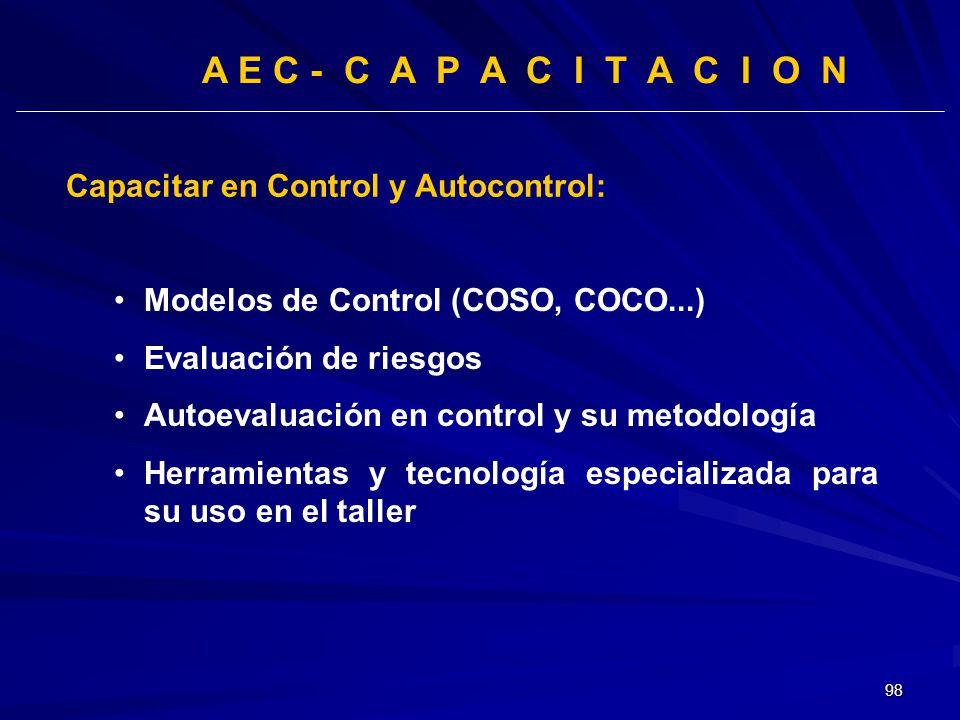 98 A E C - C A P A C I T A C I O N Capacitar en Control y Autocontrol: Modelos de Control (COSO, COCO...) Evaluación de riesgos Autoevaluación en cont