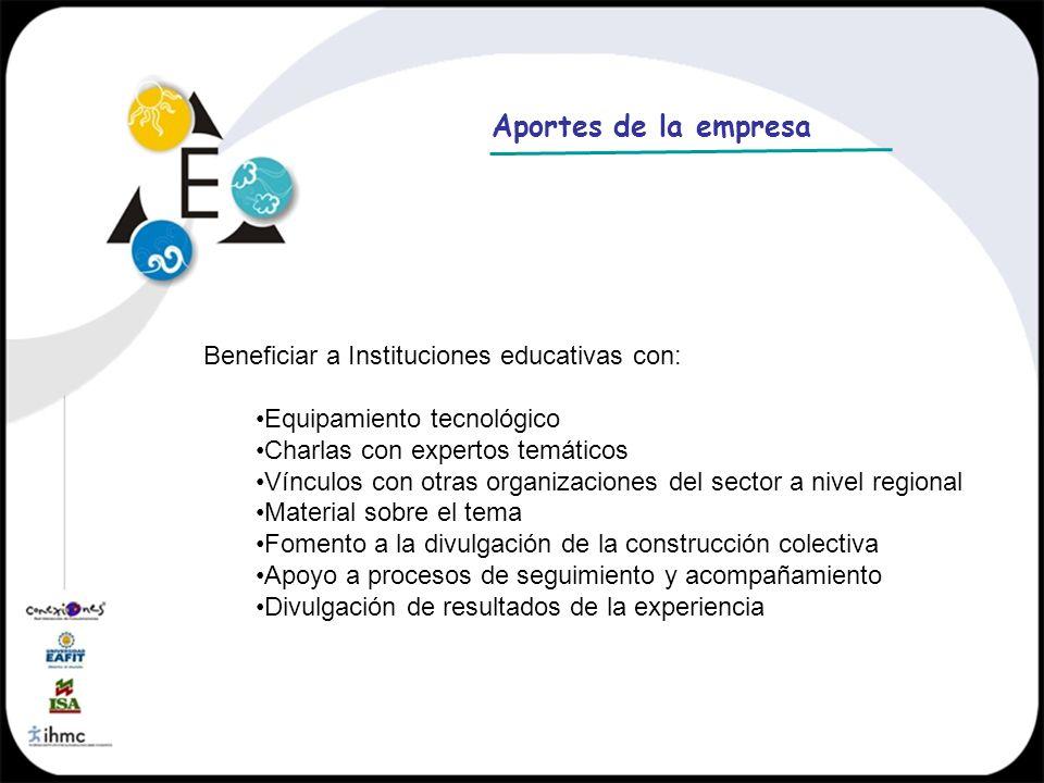 Aportes de la empresa Beneficiar a Instituciones educativas con: Equipamiento tecnológico Charlas con expertos temáticos Vínculos con otras organizaci