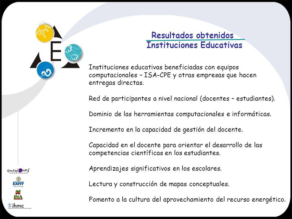 Instituciones educativas beneficiadas con equipos computacionales – ISA-CPE y otras empresas que hacen entregas directas. Red de participantes a nivel