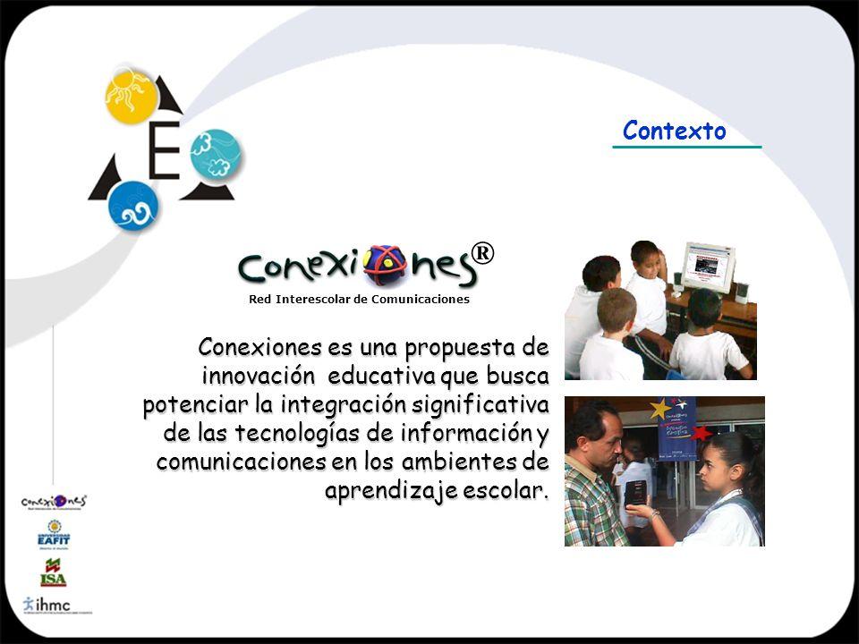 Red Interescolar de Comunicaciones ® Conexiones es una propuesta de innovación educativa que busca potenciar la integración significativa de las tecno