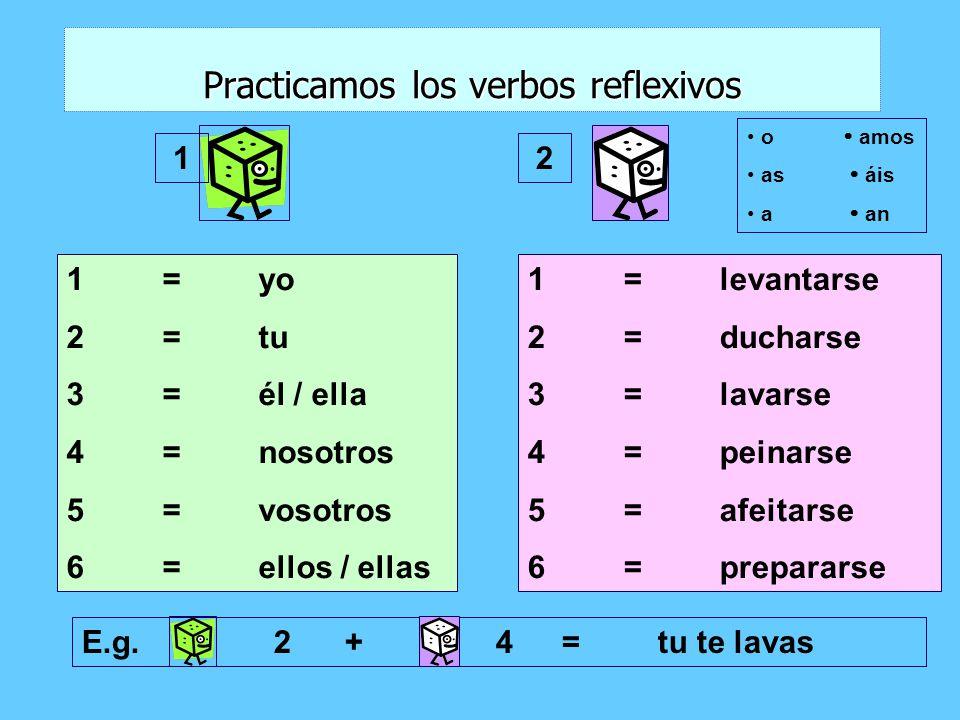 Practicamos los verbos reflexivos 1=yo 2=tu 3=él / ella 4=nosotros 5=vosotros 6=ellos / ellas 1=levantarse 2=ducharse 3=lavarse 4=peinarse 5=afeitarse 6=prepararse E.g.