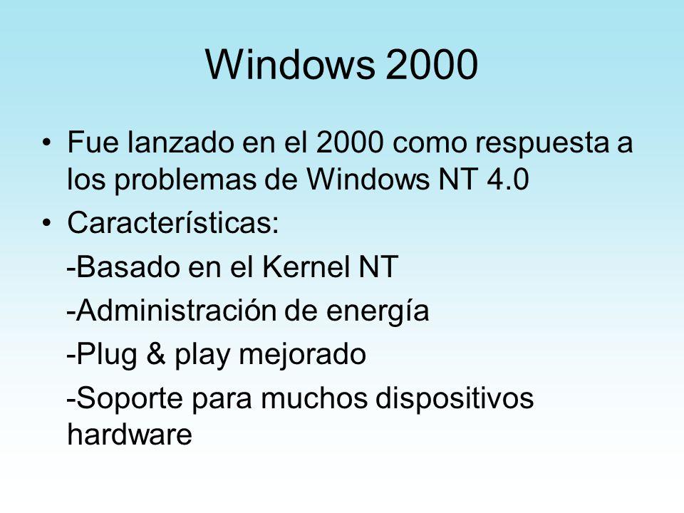 Windows 2000 Fue lanzado en el 2000 como respuesta a los problemas de Windows NT 4.0 Características: -Basado en el Kernel NT -Administración de energ