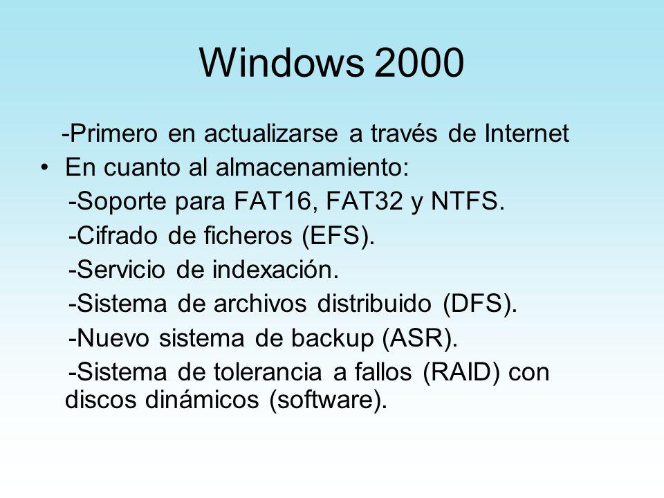 Windows 2000 -Primero en actualizarse a través de Internet En cuanto al almacenamiento: -Soporte para FAT16, FAT32 y NTFS. -Cifrado de ficheros (EFS).