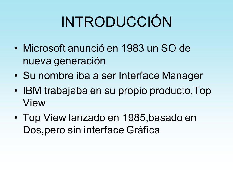 INTRODUCCIÓN Microsoft anunció en 1983 un SO de nueva generación Su nombre iba a ser Interface Manager IBM trabajaba en su propio producto,Top View To