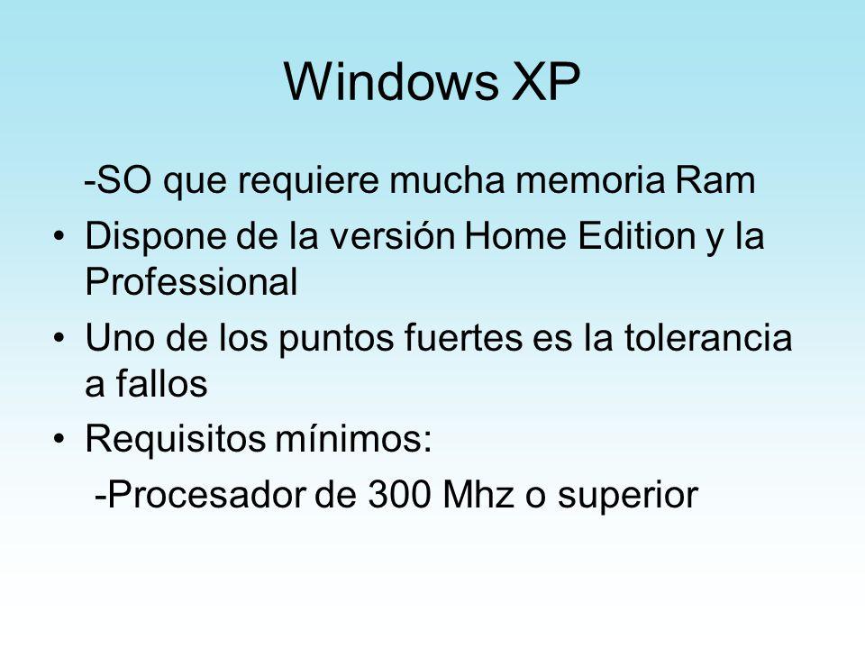 Windows XP -SO que requiere mucha memoria Ram Dispone de la versión Home Edition y la Professional Uno de los puntos fuertes es la tolerancia a fallos