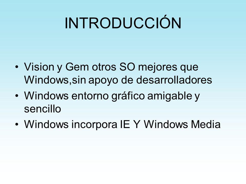 INTRODUCCIÓN Vision y Gem otros SO mejores que Windows,sin apoyo de desarrolladores Windows entorno gráfico amigable y sencillo Windows incorpora IE Y