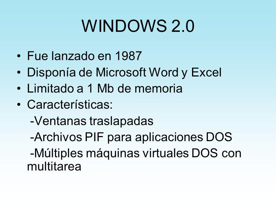 WINDOWS 2.0 Fue lanzado en 1987 Disponía de Microsoft Word y Excel Limitado a 1 Mb de memoria Características: -Ventanas traslapadas -Archivos PIF par