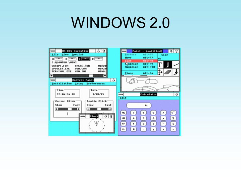 Windows 95 Ventajas: -Instalación integrada de MS-DOS -Subsistema escrito a procesadores 80386 o superiores Otras versiones: -Windows 95 OSR1 -Windows 95 OSR2 - Windows 95 OSR2.1 - Windows 95 OSR2.5