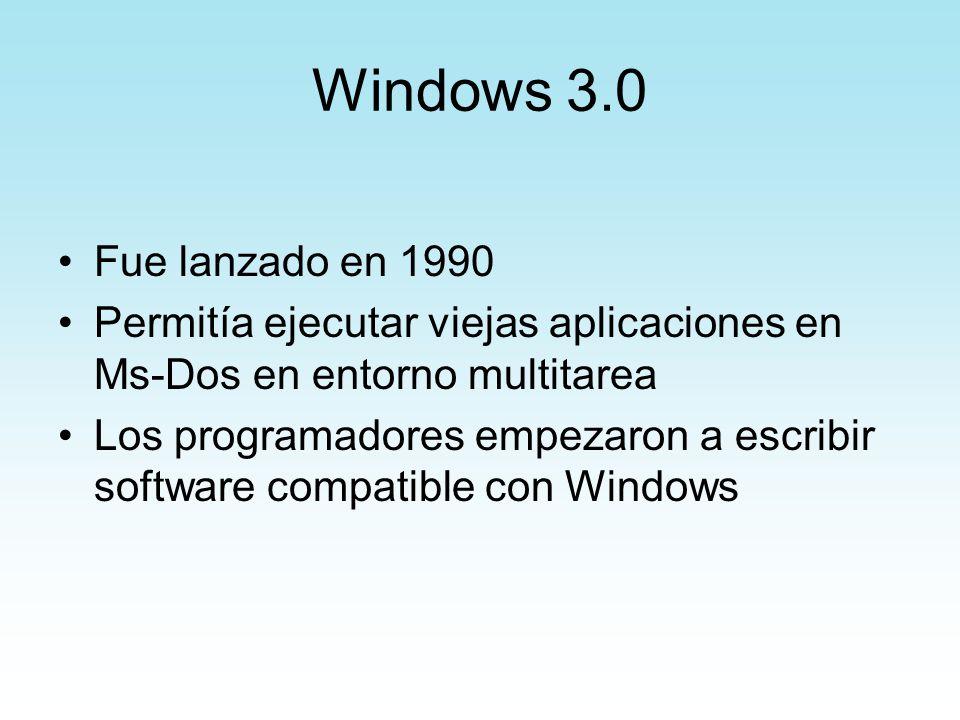 Windows 3.0 Principales características: 1.Modo estándar (286), con soporte de memoria grande 2.Modo mejorado 386,con soporte de múltiples sesiones DOS 3.Administrador de programas y archivos 4.Soporte de red