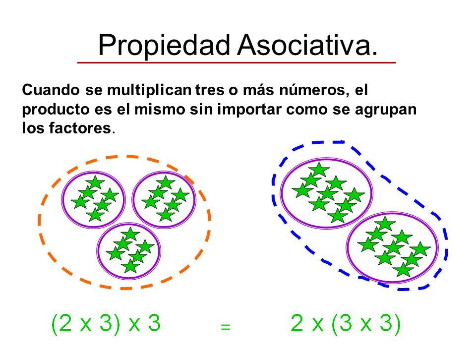 Propiedad Asociativa. = Cuando se multiplican tres o más números, el producto es el mismo sin importar como se agrupan los factores.