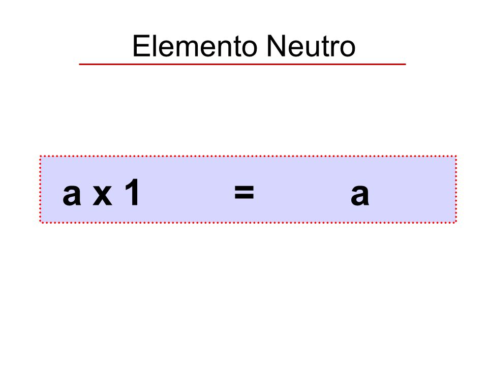 Elemento Neutro a x 1=a