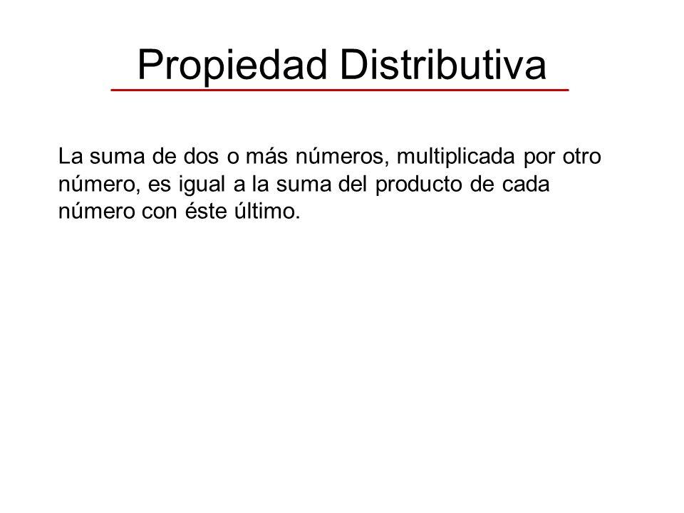 Propiedad Distributiva La suma de dos o más números, multiplicada por otro número, es igual a la suma del producto de cada número con éste último.