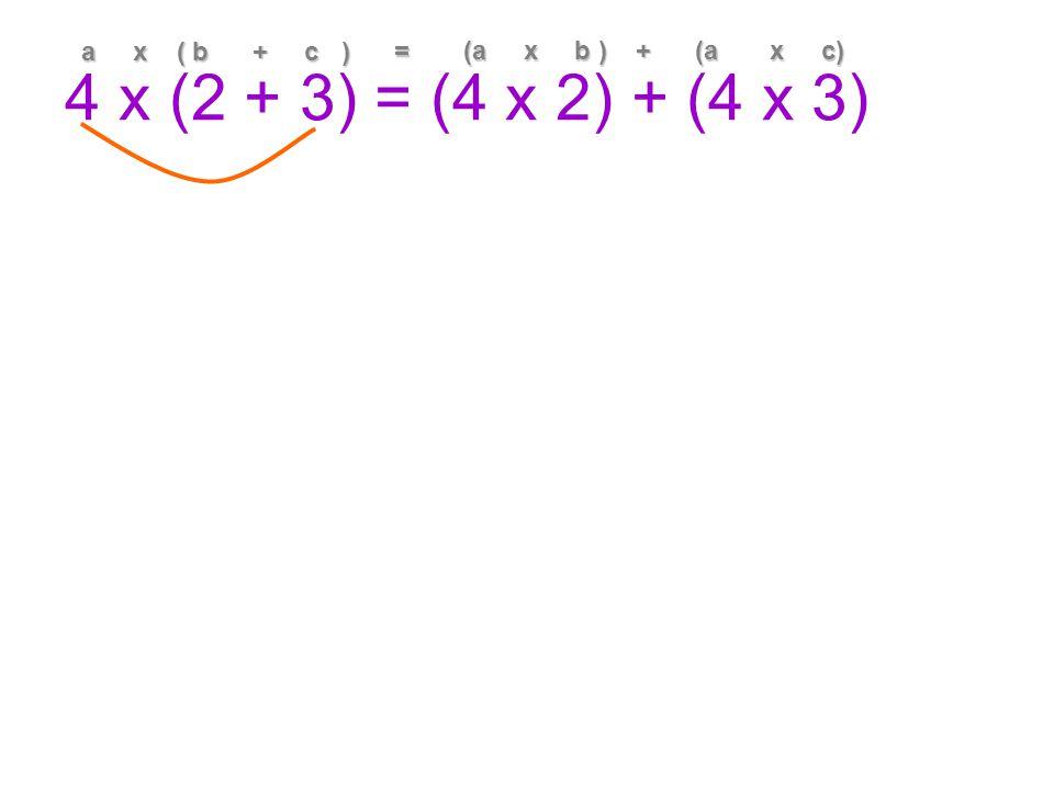 4 x (2 + 3) = (4 x 2) + (4 x 3) a x ( b + c ) = (a x b ) + (a x c)