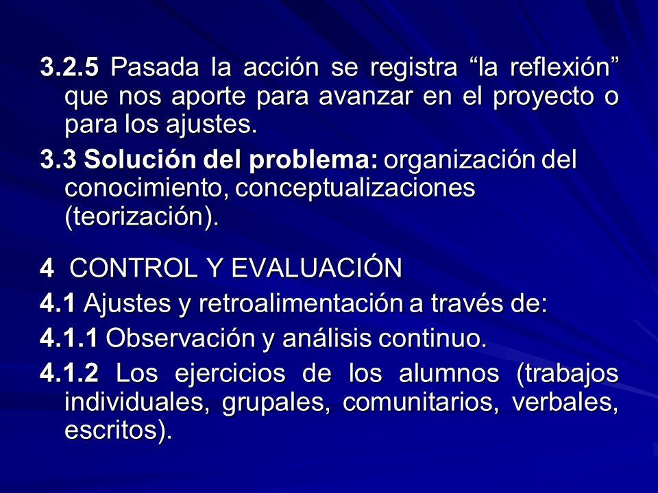 3.2.5 Pasada la acción se registra la reflexión que nos aporte para avanzar en el proyecto o para los ajustes. 3.3 Solución del problema: organización