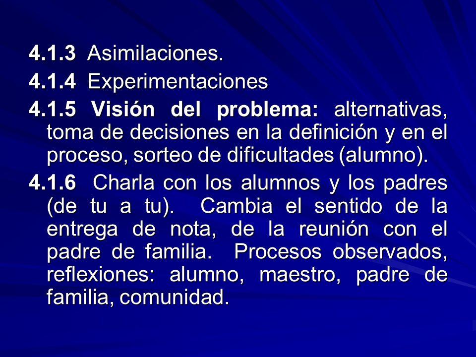 4.1.3 Asimilaciones. 4.1.4 Experimentaciones 4.1.5 Visión del problema: alternativas, toma de decisiones en la definición y en el proceso, sorteo de d