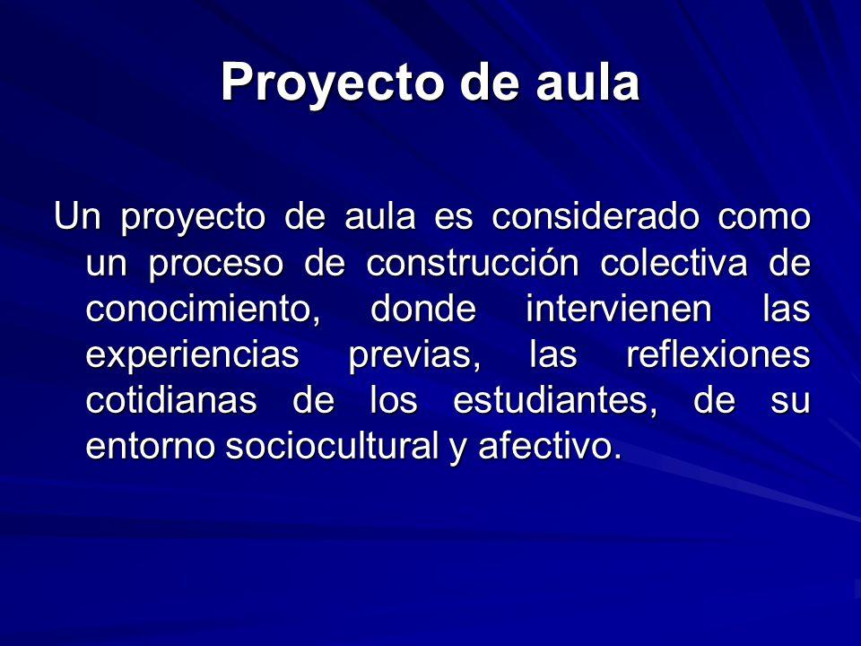 Proyecto de aula Un proyecto de aula es considerado como un proceso de construcción colectiva de conocimiento, donde intervienen las experiencias prev