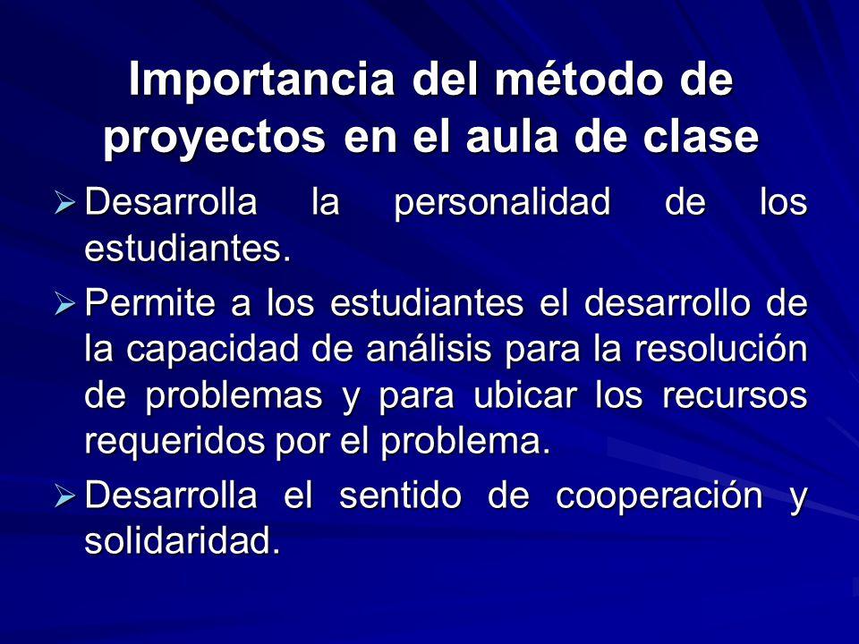 Importancia del método de proyectos en el aula de clase Desarrolla la personalidad de los estudiantes. Desarrolla la personalidad de los estudiantes.