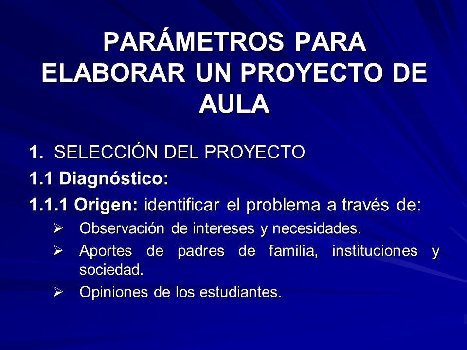 PARÁMETROS PARA ELABORAR UN PROYECTO DE AULA 1. SELECCIÓN DEL PROYECTO 1.1 Diagnóstico: 1.1.1 Origen: identificar el problema a través de: Observación