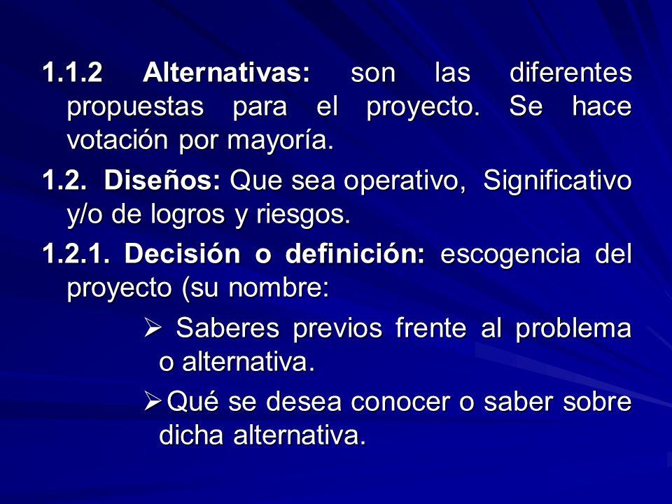 1.1.2 Alternativas: son las diferentes propuestas para el proyecto. Se hace votación por mayoría. 1.2. Diseños: Que sea operativo, Significativo y/o d