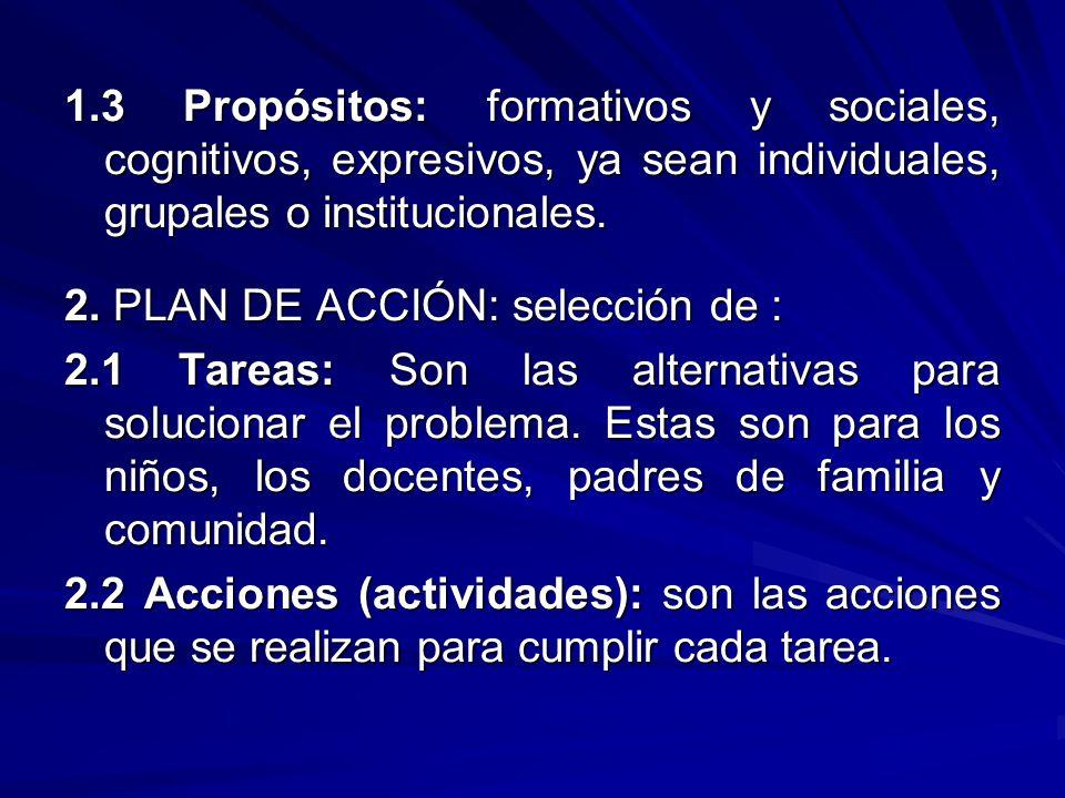 1.3 Propósitos: formativos y sociales, cognitivos, expresivos, ya sean individuales, grupales o institucionales. 2. PLAN DE ACCIÓN: selección de : 2.1