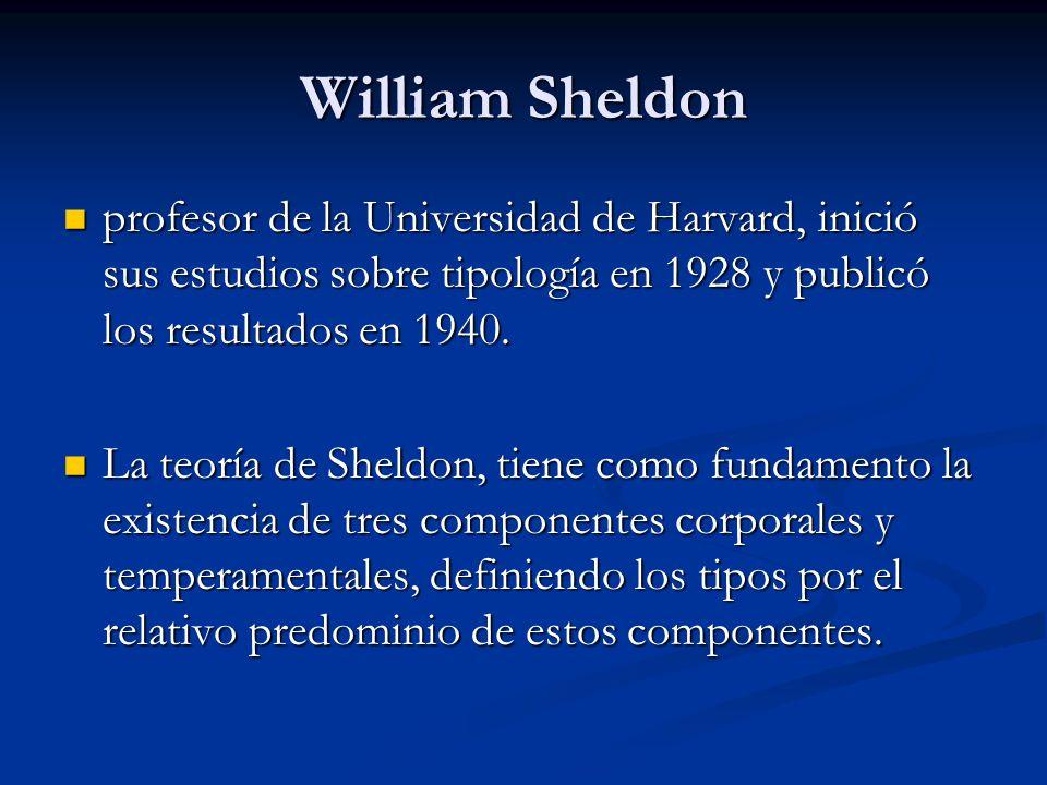 William Sheldon profesor de la Universidad de Harvard, inició sus estudios sobre tipología en 1928 y publicó los resultados en 1940. profesor de la Un