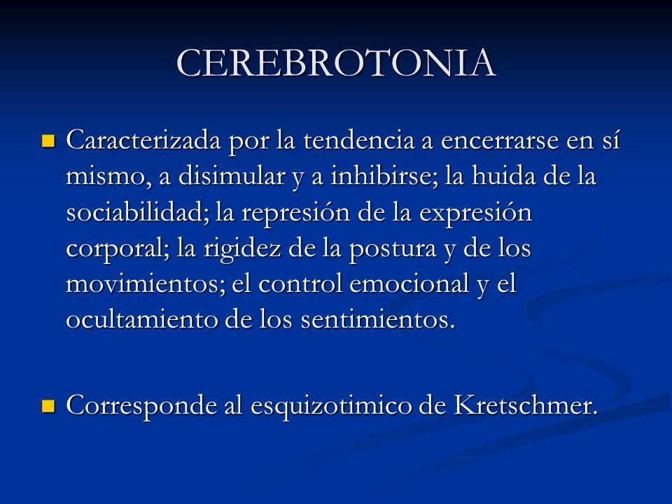 CEREBROTONIA Caracterizada por la tendencia a encerrarse en sí mismo, a disimular y a inhibirse; la huida de la sociabilidad; la represión de la expre
