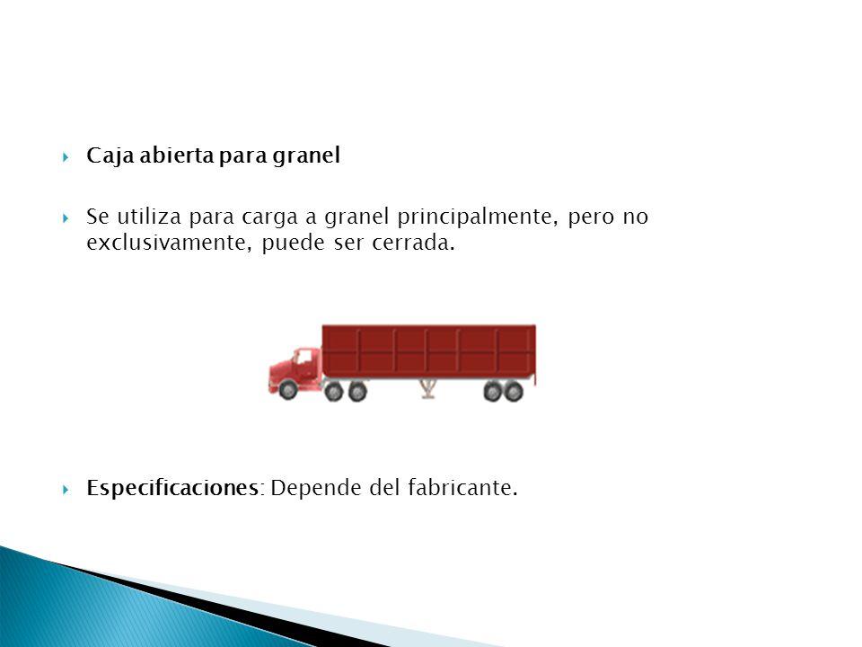 Caja abierta para granel Se utiliza para carga a granel principalmente, pero no exclusivamente, puede ser cerrada. Especificaciones: Depende del fabri