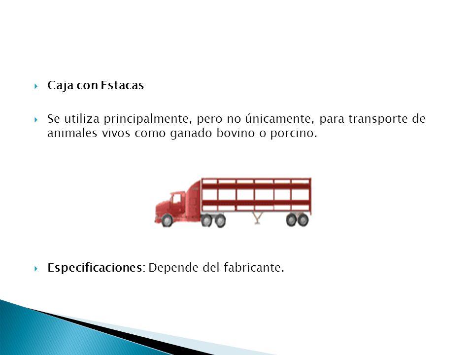 Caja con Estacas Se utiliza principalmente, pero no únicamente, para transporte de animales vivos como ganado bovino o porcino. Especificaciones: Depe