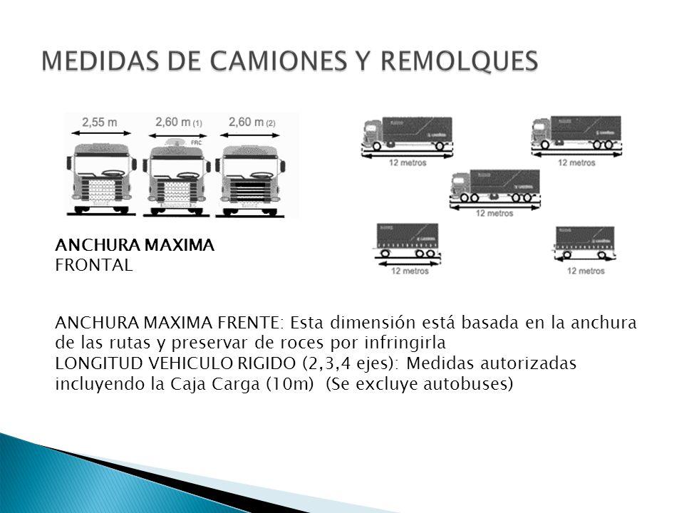 ANCHURA MAXIMA FRENTE: Esta dimensión está basada en la anchura de las rutas y preservar de roces por infringirla LONGITUD VEHICULO RIGIDO (2,3,4 ejes