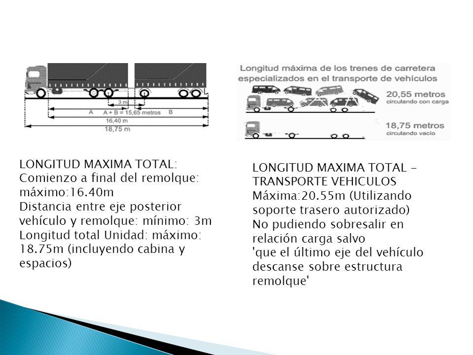 LONGITUD MAXIMA TOTAL: Comienzo a final del remolque: máximo:16.40m Distancia entre eje posterior vehículo y remolque: mínimo: 3m Longitud total Unida