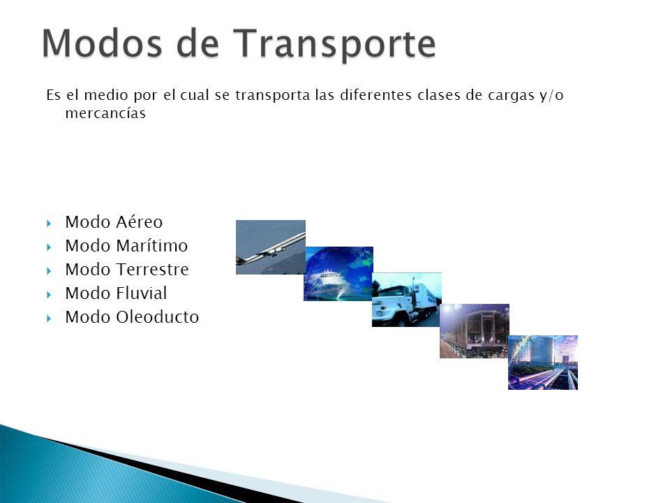 Es el medio por el cual se transporta las diferentes clases de cargas y/o mercancías Modo Aéreo Modo Marítimo Modo Terrestre Modo Fluvial Modo Oleoduc