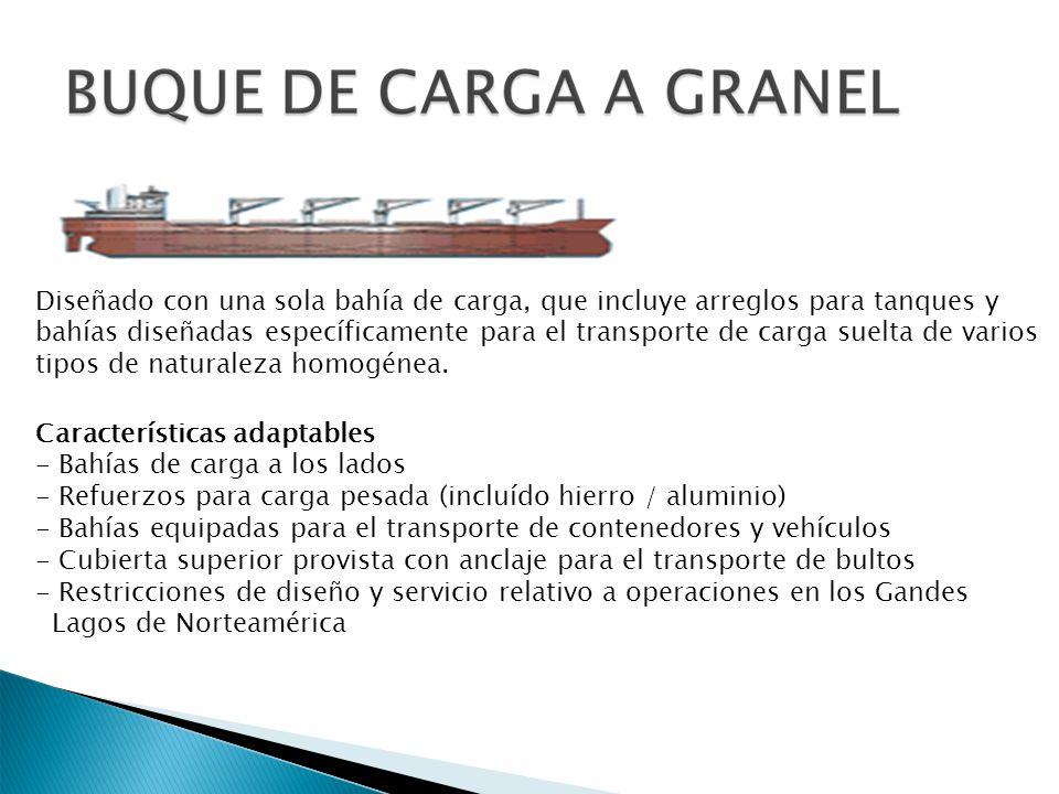 Diseñado con una sola bahía de carga, que incluye arreglos para tanques y bahías diseñadas específicamente para el transporte de carga suelta de vario