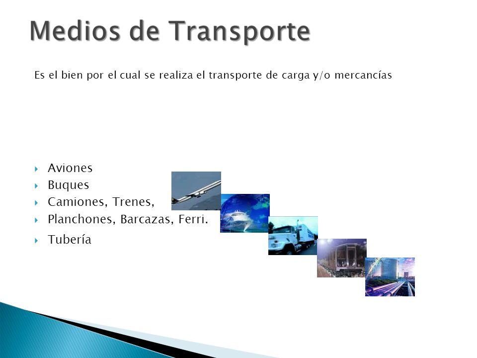 Es el bien por el cual se realiza el transporte de carga y/o mercancías Aviones Buques Camiones, Trenes, Planchones, Barcazas, Ferri. Tubería