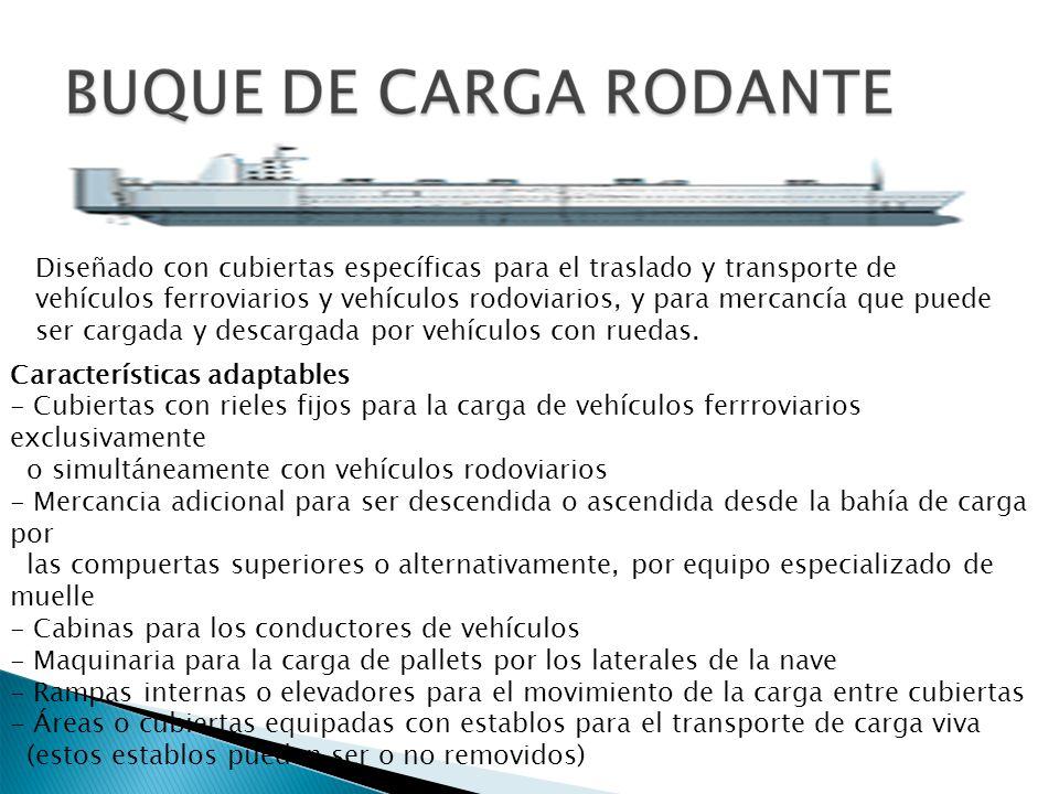 Diseñado con cubiertas específicas para el traslado y transporte de vehículos ferroviarios y vehículos rodoviarios, y para mercancía que puede ser car