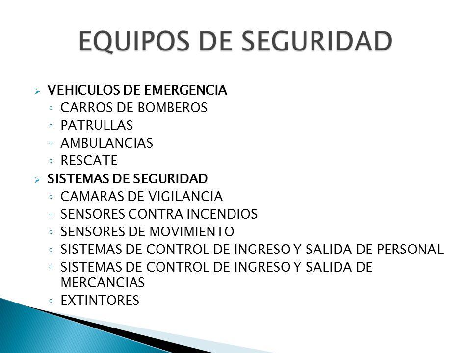 VEHICULOS DE EMERGENCIA CARROS DE BOMBEROS PATRULLAS AMBULANCIAS RESCATE SISTEMAS DE SEGURIDAD CAMARAS DE VIGILANCIA SENSORES CONTRA INCENDIOS SENSORE