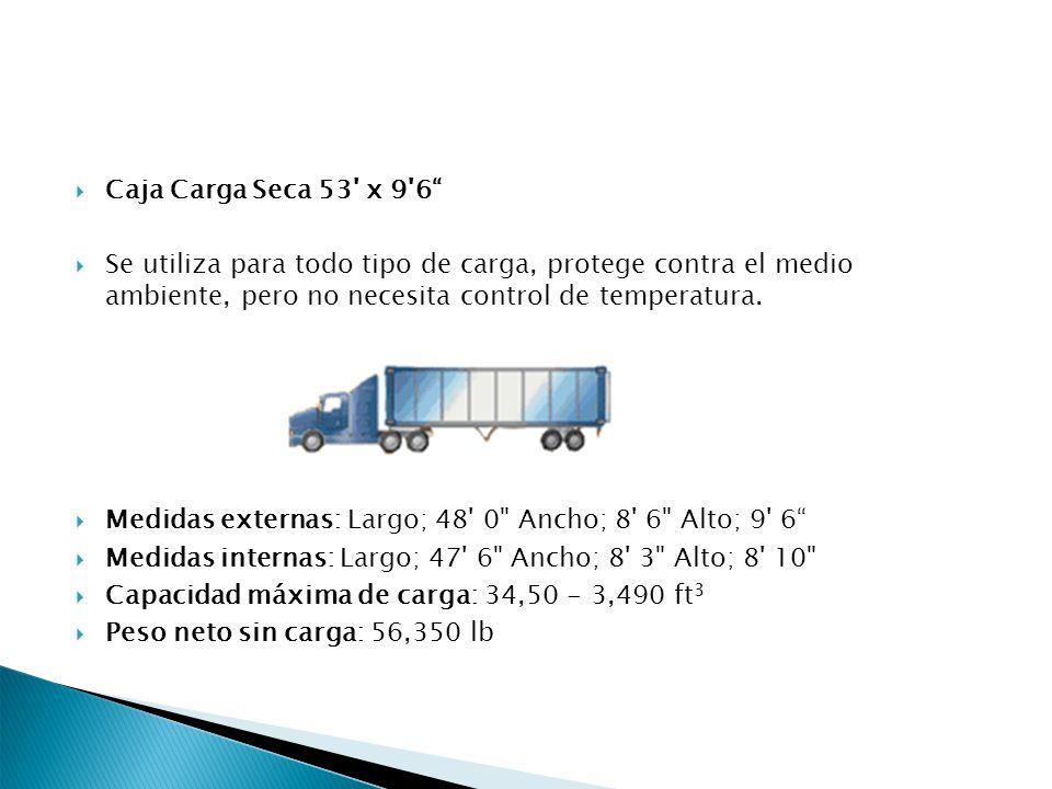 Caja Carga Seca 53' x 9'6 Se utiliza para todo tipo de carga, protege contra el medio ambiente, pero no necesita control de temperatura. Medidas exter