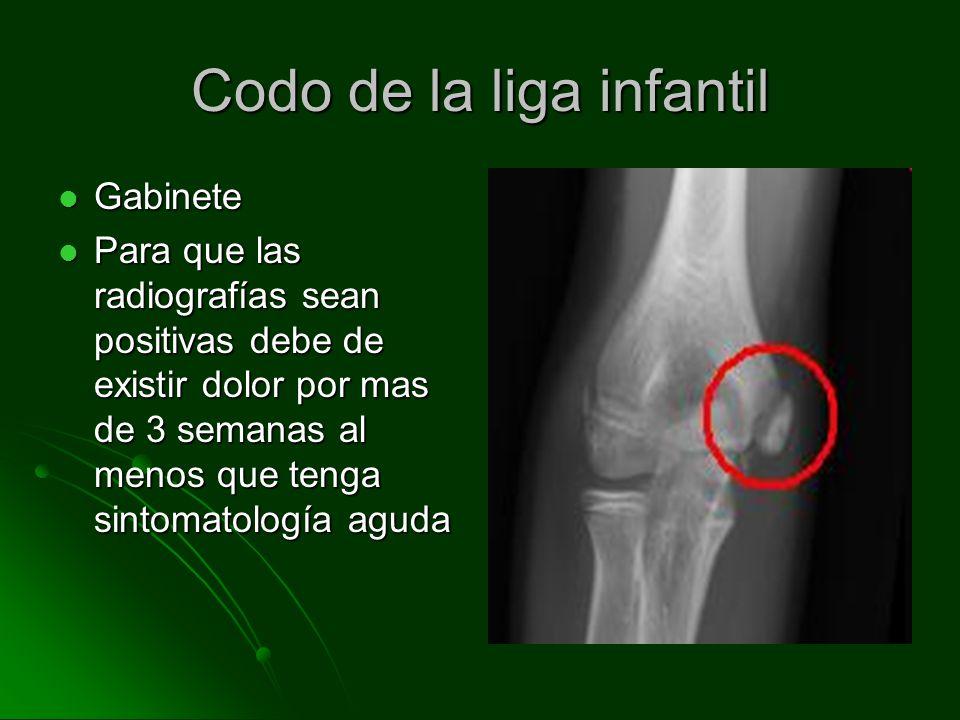 Codo de la liga infantil Gabinete Gabinete Para que las radiografías sean positivas debe de existir dolor por mas de 3 semanas al menos que tenga sint