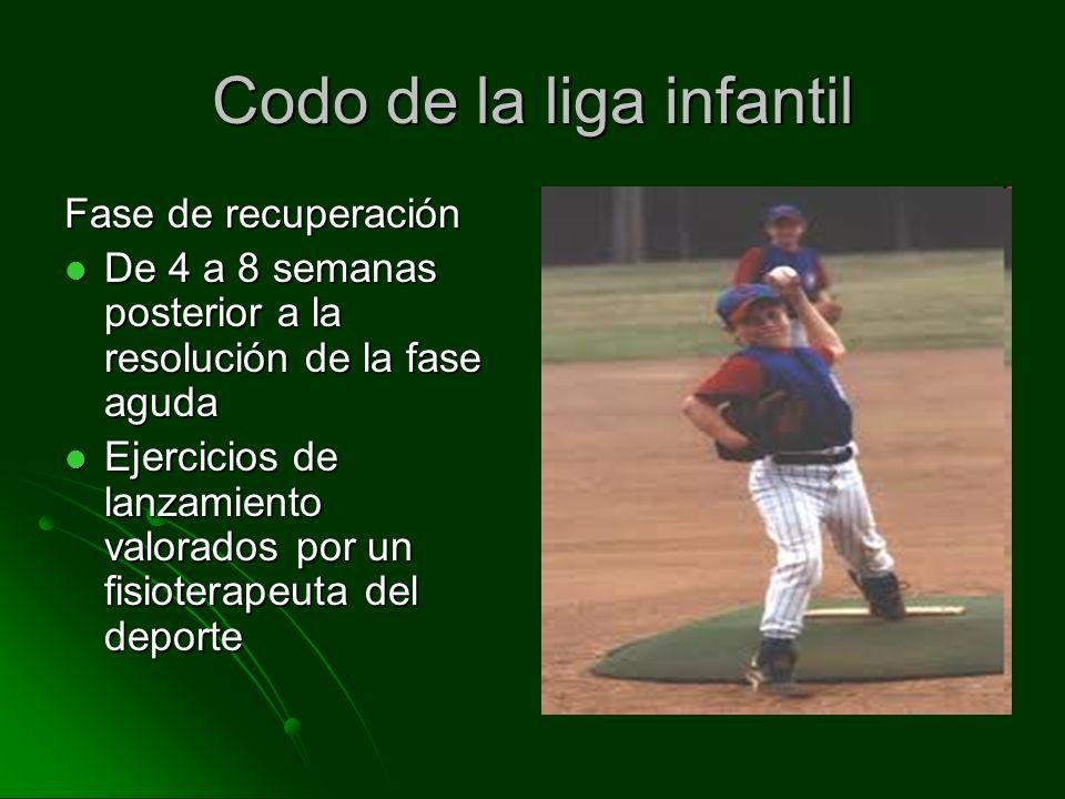 Codo de la liga infantil Fase de recuperación De 4 a 8 semanas posterior a la resolución de la fase aguda De 4 a 8 semanas posterior a la resolución d