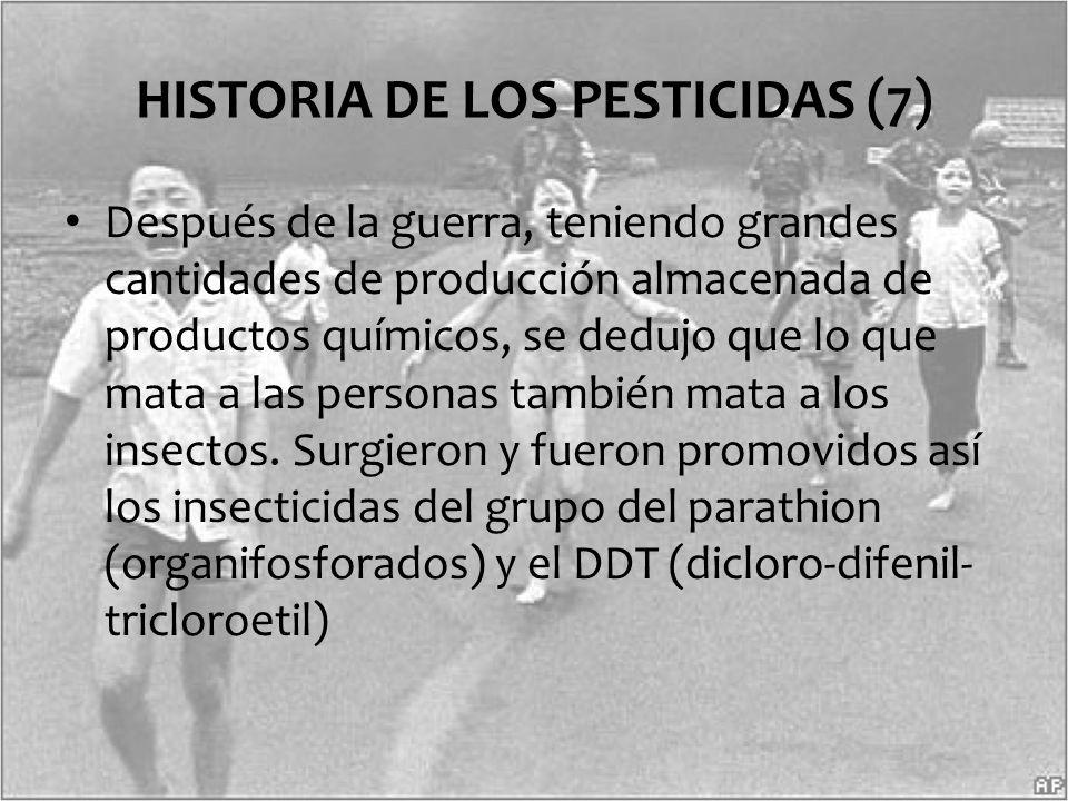 Después de la guerra, teniendo grandes cantidades de producción almacenada de productos químicos, se dedujo que lo que mata a las personas también mat
