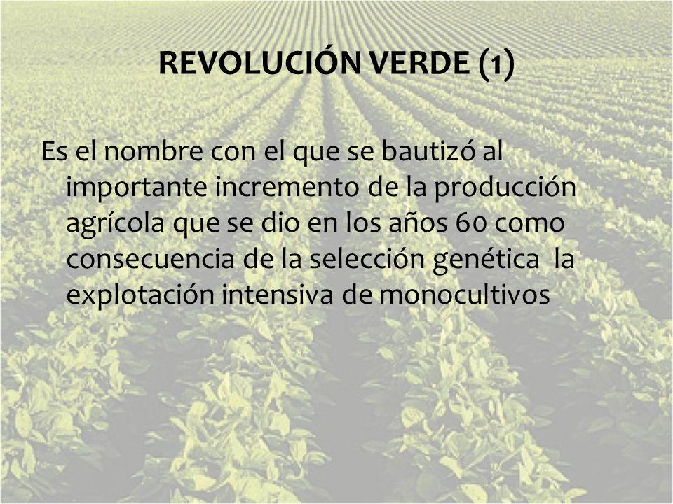 REVOLUCIÓN VERDE (1) Es el nombre con el que se bautizó al importante incremento de la producción agrícola que se dio en los años 60 como consecuencia