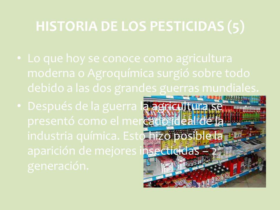 Lo que hoy se conoce como agricultura moderna o Agroquímica surgió sobre todo debido a las dos grandes guerras mundiales. Después de la guerra la agri