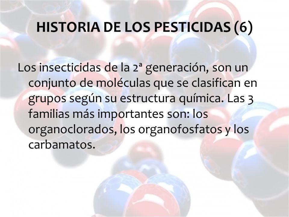 Los insecticidas de la 2ª generación, son un conjunto de moléculas que se clasifican en grupos según su estructura química. Las 3 familias más importa