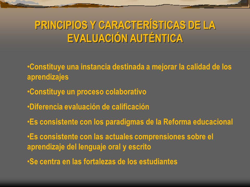 PRINCIPIOS Y CARACTERÍSTICAS DE LA EVALUACIÓN AUTÉNTICA Constituye una instancia destinada a mejorar la calidad de los aprendizajes Constituye un proceso colaborativo Diferencia evaluación de calificación Es consistente con los paradigmas de la Reforma educacional Es consistente con las actuales comprensiones sobre el aprendizaje del lenguaje oral y escrito Se centra en las fortalezas de los estudiantes