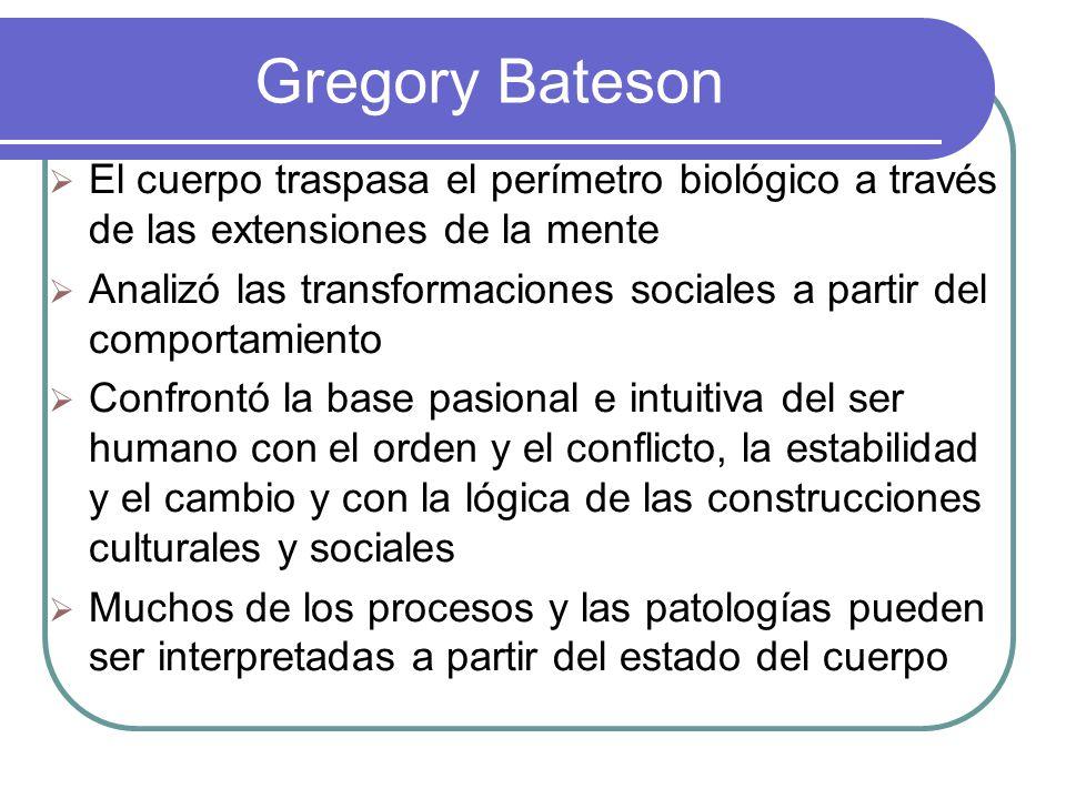 Gregory Bateson Heterodoxo de una gran fortaleza creativa, muchos de sus planteamientos se utilizan como claves interpretativas y herramientas metodológicas en desarrollos teóricos que le suceden.
