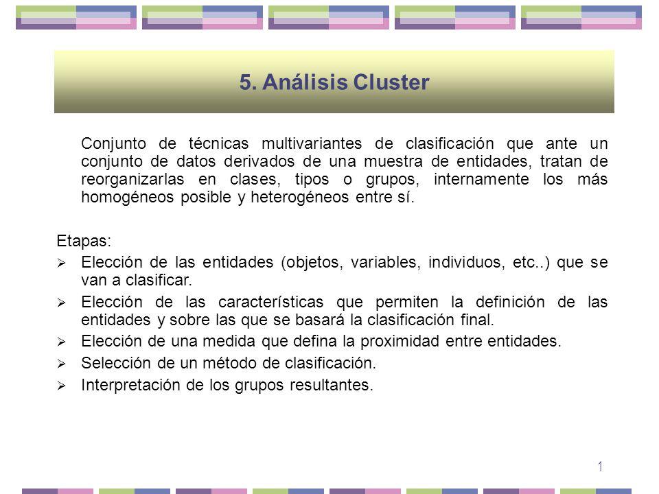 2 Método Objetivo: condiciona en buena medida los criterios empleados en la agrupación, por lo que no existe una metodología cluster única.