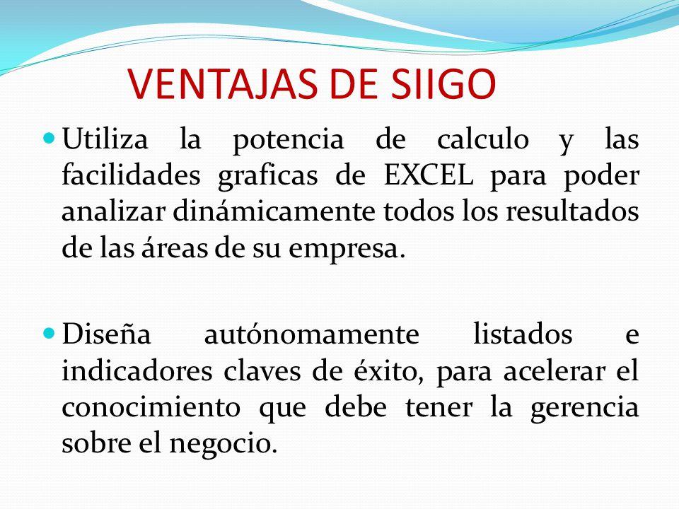 VENTAJAS DE SIIGO Utiliza la potencia de calculo y las facilidades graficas de EXCEL para poder analizar dinámicamente todos los resultados de las áreas de su empresa.