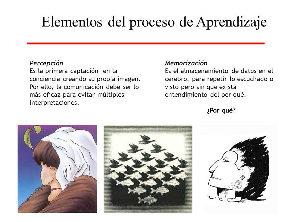 Elementos del proceso de Aprendizaje Percepción Es la primera captación en la conciencia creando su propia imagen. Por ello, la comunicación debe ser